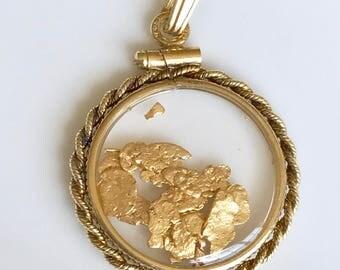 14k Vintage Gold Pendant,Floating Gold Pendant,24k Gold Flakes Pendant,14k Rope Gold Pendant