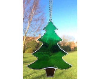 Stained Glass Christmas Tree Suncatcher Decoration Gift Green Glass Tree