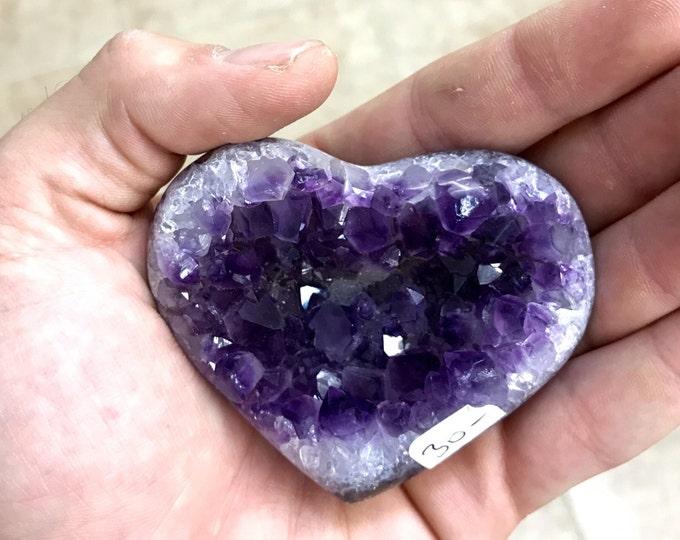 "Amethyst Druzi Heart High Quality- Hand Carved- 3"" X 2 1/2"" From BrazilHealing Crystals \ Reiki \ Healing Stone \ Healing Stones \ Chakra"