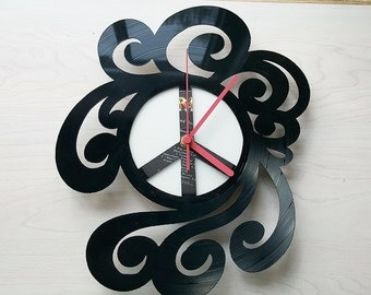 Retro Peace Sign Vinyl Record Clock, Peace