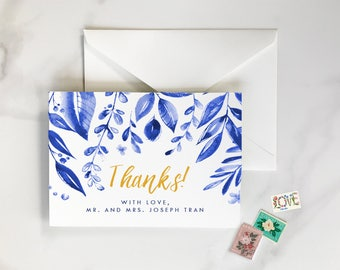 Mediterranean Thank You Cards, Spanish Thank You Cards, Leaves Thank You Card, Blue Watercolor Leaves, Mediterranean Inspired Thank You Card
