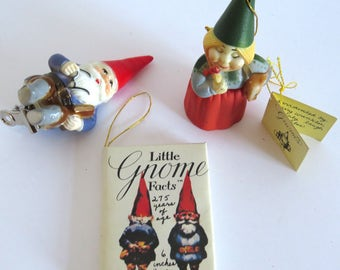 Vintage 1979 Rien Poortvliet Gnomes Christmas Ornaments & Mini Book — Uniboek