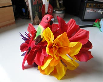 Colorful Tiki Tropical Summer Hair Flower with Detachable Parrot