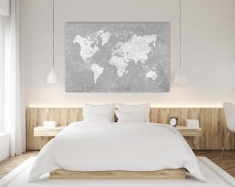 WORLD MAP Canvas Print Vintage Neutral Gray World Map Extra Large Basic Gray Wall Art Vintage Retro Oversized Horizontal wall art poster map