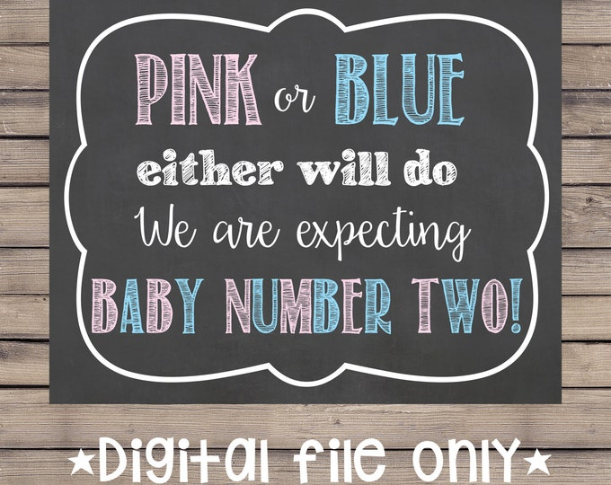 Pink or Blue Either Will Do Pregnancy Sign/Mommy is Due Pregnancy Sign/Expecting Number Two/We Are Expecting Number Two Chalkboard Sign