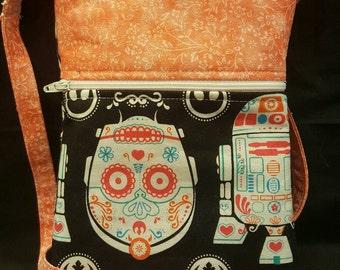 """Star Wars/Sugar Skull/Cell Phone Purse/Neck Purse/C3PO/R2D2/Handcrafted """"Star Wars"""" sugar skull neck purse/ cell phone purse"""