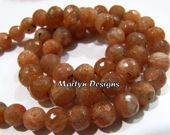 High Quality Beautiful 5-8mm Size Sunstone Beads , Faceted Ball Shape Sunstone Beads , Natural Sunstone Beads , Sale- Pack of 20 Beads