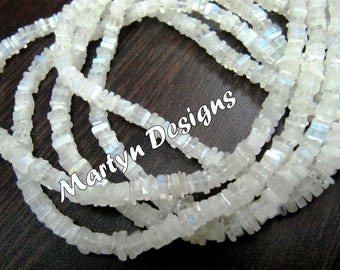 Super Fine Quality Blue Flashy White Moonstone 4-5mm Size Beads , Natural Rainbow Moonstone Heishi Cut Beads , Length 14 inch , High Quality