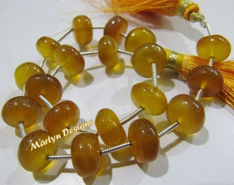 """AAA Quality Yellow Color Smooth Chalcedony Beads, Plain Rondelle 10 to 12mm Size Beads, Sold per strand of 9"""" long, Citrine Color Gemstones"""