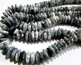 Best Quality Genuine Dendrite Opal Faceted Gemstone Beads , German Cut Rondelle Shape Beads 9-12 mm , Strand 8 inches long , Graduated Beads