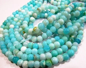 Natural Peruvian Opal Round ball Shape Beads Blue Opal 5 to 7mm beads sold per strand 13 inches , Semi Precious Gemstone Strings Wholesale.