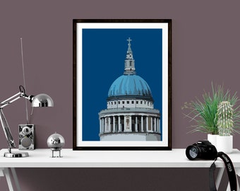 Art Print of St Pauls Cathedral, London skyline wall decor, Architectural print, Cityscape art, Unique housewarming gift, Gift for friend