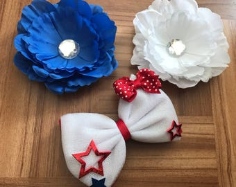 4th of July bow, 4th of july hair bow set, red white and blue, 4th of July bow, hair bow set, cute bow, girly bow, hair bows, bows, bow
