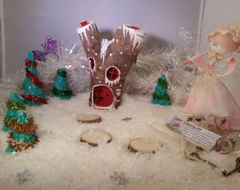Red Winter Handcrafted Wooden FAIRY HOUSE Magical Fantasy Woodland Fairy garden