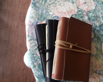 Vegan CUSTOM Medium Brown or Black Faux Leather Journal