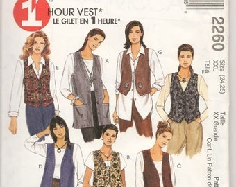 Misses'  1 Hour Unlined Vests In Two Lengths  Sizes 24 Thru 26 McCalls Pattern 2260