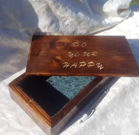 Engraved cloth lined keepsake box