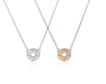 Tiny Gold, Rose Gold or Silver compass necklace, simple handmade jewelry, north, south, west, east, bridal jewelry, bridesmaid gift