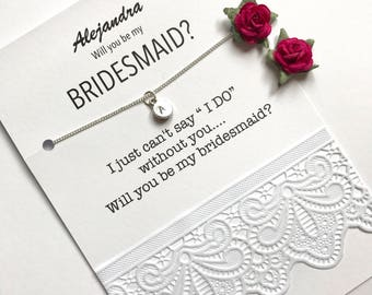 Will you be my bridesmaid, Tiny letter necklace, Bridesmaid gift, Bridesmaid invitation, Monogram NECKLACE, Asking bridesmaids, B32