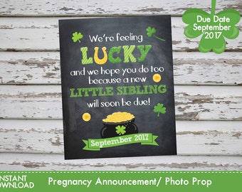 Saint Patricks Day Pregnancy Announcement, St. Patrick's Pregnancy Photo Prop SEPTEMBER 2017 DIY