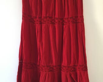 Mexican Red Long Skirt