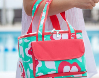 Monogrammed Lunch Bag, personalized Lunch Bag, Monogrammed Beach Cooler, Lunch Tote, Monogrammed Lunch tote, Poppy Lunch Cooler-PC