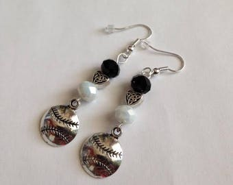 Black and White Baseball Earrings, Black and White Baseball Charm Earrings, White Sox Inspired Earrings, Baseball  Earrings, Ships From USA