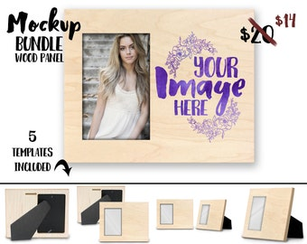Natural Wood Offset picture frame with easel mockup template | Digital Download | Stock Photography | Sublimation | ChromaLuxe