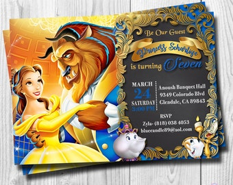 Beauty And The Beast Invitation Princess Belle Birthday Party