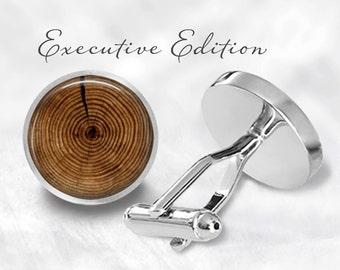Wood Ring Cufflinks - Wood Cufflinks - Log Cuff Links - Tree Cufflinks (Pair) Lifetime Guarantee (S0650)