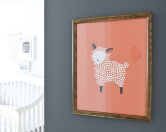 "Kids Nursery Print | Illustrated Print | Colorful Art | Sheep | Lamb | Farm Nursery | Orange | Tangerine | ""Little Lamb"""
