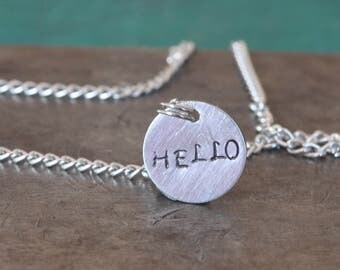 Hello Stamped Custom Charm Necklace
