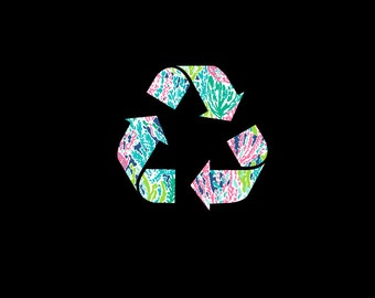 Recycle Decal with Personality!  Preppy Inspired Recycle Sticker, Reduce, Reuse, Recycle Preppy Print Decal