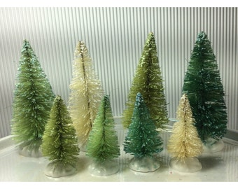 Shades of Green dyed sisal tree set of 8: Emerald green, mint green, spring green, white