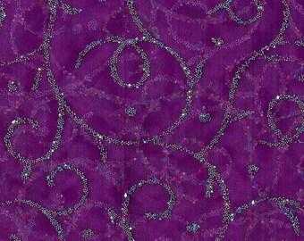 All That Glitters Fabric- Caviar Scroll Organza Dewberry, End of Bolt 0.5 Yards