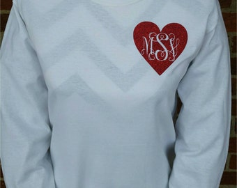SALE-Valentine's Day Monogram Shirt - Monogram Valentine Shirt - Valentines Day Shirt - Long Sleeve Youth and Adult Available