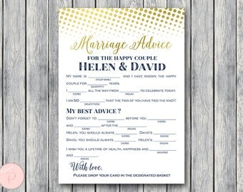 Gold Marriage advice cards, Marriage advice cards, Wedding Mad Libs, Bridal Shower Mad Libs, Bridal Mad Libs, Mad lib advice cards TG00 TH75