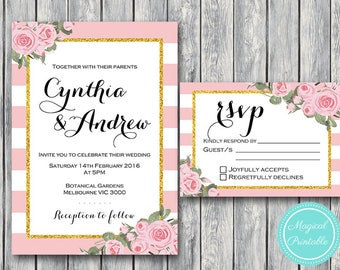 Pink Floral Wedding Invitation Set, Wedding Invitation Printable, Bridal Shower, Baby Shower Invite, Wedding Invitation Suite WD57 WI10