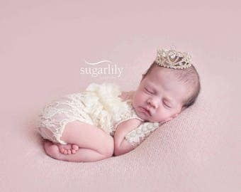 Newborn Baby Girl Cream Lace Open Back Ruffled Onsie, Photo Prop