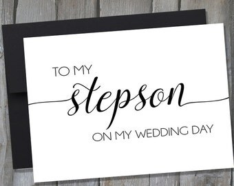 Gift For Stepson On Wedding Day : To My Stepson On My Wedding Day Note Card Wedding Day Notecards ...