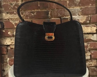Vintage Sterling USA Genuine Lizard Black Bag Purse