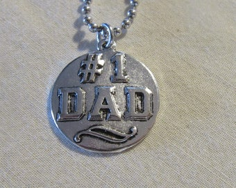 "Number 1 DAD Necklace Pendent On Ball Chain 24"" L Can Be Cut Down To Your Size Dad Jewelry Father's Day Necklace Gift For Dad New Father"