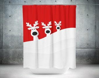 holiday shower curtain reindeer shower curtain christmas shower curtain cool shower curtains - Cool Shower