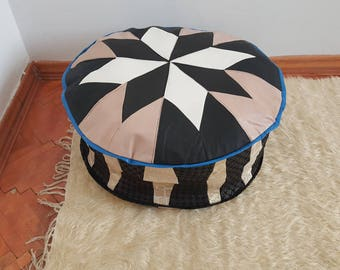 Black and white leather pouf handmade poufs