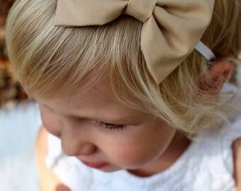 tan bow headband