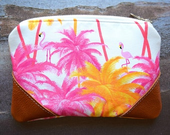 Ready to ship palm tree pouch, zipper pouch, genuine leather pouch, tropical pouch, hawaii pouch, flamingo pouch, small pouch, travel pouch