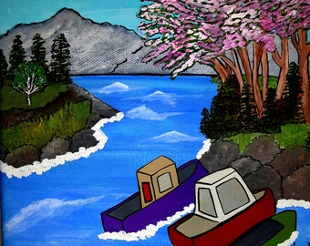 Cherry Blossom Bay, folk art painting, folk art, original art, acrylic painting, wall art, whimsical art, landscape painting, hand painted