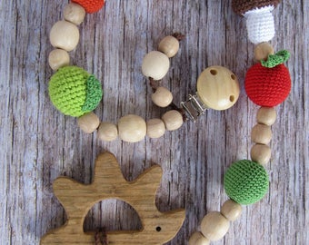 wooden pacifier chain beaded pacifier clip car seat toy baby pacifier holder dummy chain pacifier holder babies gifts baby teether hedgehog