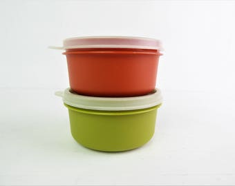 Vintage Tupperware snack pots, small storage tubs / containers / boxes, pair, orange and avocado green
