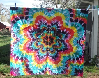 Tie Dye Snowflake Mandala Cotton Tapestry 43 by 46 inches